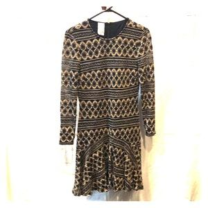 Black & gold knit formal dress with long sleeves